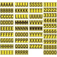 乙烯基不干胶黄底黑字模切字母数字套装