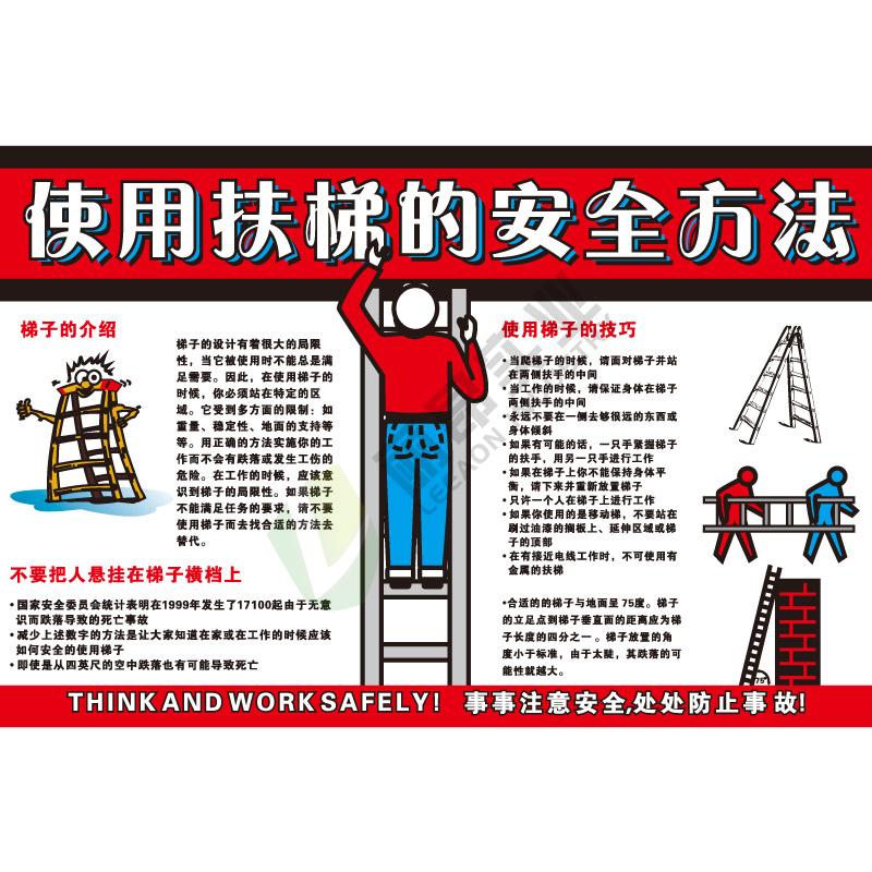 安全宣传教育挂图:使用扶梯的安全方法
