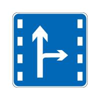 直行和右转车道标志