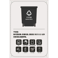 列举式生活垃圾分类标识干垃圾
