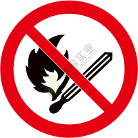 国标GB安全标签-禁止类:禁止烟火No burning-中英文双语版