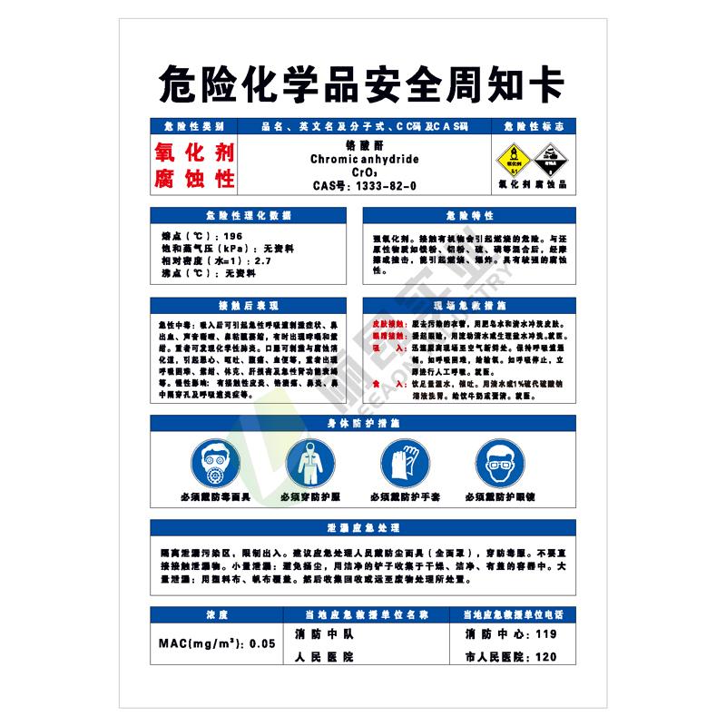 危险化学品安全周知卡: 铬酸酐