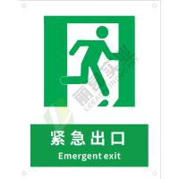 国标GB安全标识-提示类:紧急出口-右Emergent exit-中英文双语版