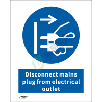 ISO安全标识: Disconnect mains plug from electrical outlet